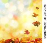 autumn background with falling... | Shutterstock . vector #312817028