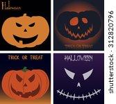 set of jack o' lanterns on... | Shutterstock .eps vector #312820796
