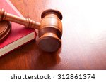 gavel and the book in the red
