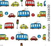 funny cars. kids seamless... | Shutterstock . vector #312866630