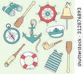 seaman hand drawn icon set.... | Shutterstock .eps vector #312876893