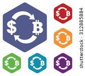 dollar bit coin exchange icons...