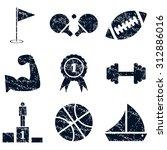 sport icons set grunge  black ...