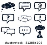 chat icons set grunge  black ...
