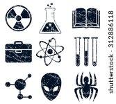 science icons set grunge  black ...