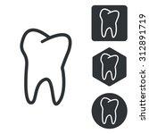 tooth icon set  monochrome ...