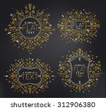 gold linear monograms. simple... | Shutterstock .eps vector #312906380