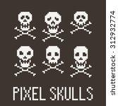 set of six pixel skulls and...