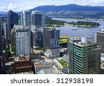 Stock photo vancouver aerial view of downtown skyline 312938198