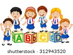 happy school kids with alphabet ... | Shutterstock .eps vector #312943520