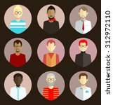 colorful icons of flat faces of ... | Shutterstock .eps vector #312972110