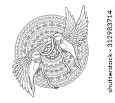 Elegant Bird Coloring Page In...