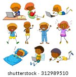boy and girl doing different...   Shutterstock .eps vector #312989510