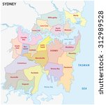 Постер, плакат: Sydney administrative map