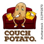 potato sitting on couch... | Shutterstock .eps vector #312992870