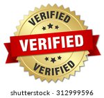 verified 3d gold badge with red ... | Shutterstock .eps vector #312999596
