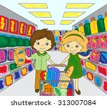 a boy and a girl are shopping... | Shutterstock . vector #313007084
