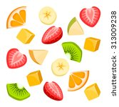 pieces of fruit | Shutterstock .eps vector #313009238