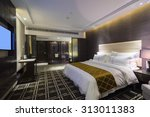 Stock photo luxury hotel bedroom with nice decoration 313011383