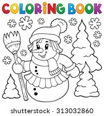 coloring book snow woman topic... | Shutterstock .eps vector #313032860