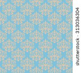damask blue seamless pattern.... | Shutterstock .eps vector #313036304