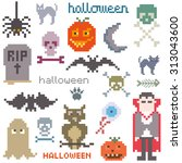 set of four icons on halloween... | Shutterstock .eps vector #313043600