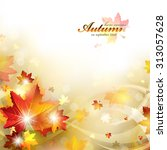 autumn background with foliage | Shutterstock .eps vector #313057628