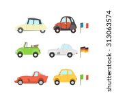 car flat icon set including... | Shutterstock . vector #313063574