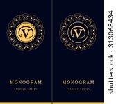 monogram design elements ... | Shutterstock .eps vector #313068434