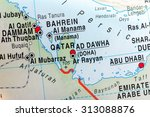 map view of qatar and bahrein | Shutterstock . vector #313088876