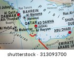 map view of qatar and bahrein.  ... | Shutterstock . vector #313093700