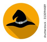 witch hat flat icon with long...   Shutterstock .eps vector #313094489