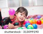 Asian Cute Girl Playing Ball...