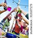 beach summer dinner party...   Shutterstock . vector #313107173