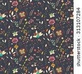 bohemian hand drawn flowers ... | Shutterstock .eps vector #313107284