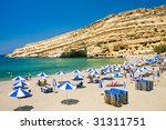 Famous Beach Matala, Greece Crete - stock photo
