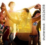 copy space frame summer... | Shutterstock . vector #313126358