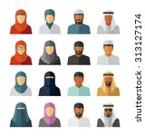 vector middle eastern people... | Shutterstock .eps vector #313127174