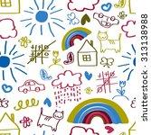 children's painting background  ... | Shutterstock . vector #313138988