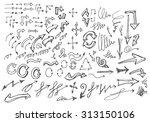 vector hand drawn arrows set... | Shutterstock .eps vector #313150106
