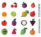 fruit icon set. | Shutterstock . vector #313150898