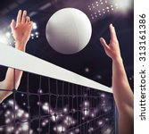 Volleyball Ball Over The Net...