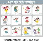 cute calendar template | Shutterstock .eps vector #313165550