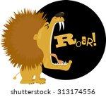 cartoon lion roaring  vector...