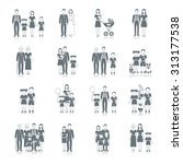 family icon black set with... | Shutterstock . vector #313177538