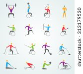 disabled sports icons set with... | Shutterstock . vector #313179530