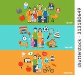 big happy healthy family flat... | Shutterstock . vector #313180649