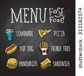 fast food menu chalkboard... | Shutterstock . vector #313182374