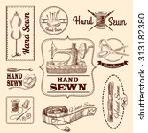 sewing emblems hand drawn set... | Shutterstock . vector #313182380