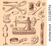sewing decorative icons sketch... | Shutterstock . vector #313182956